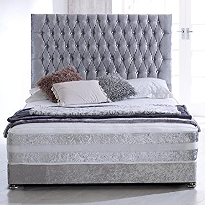 Home Furnishings UK Hf4you Sprung Memory Crushed Velvet Bed Set – 5FT Kingsize – Silver – 30