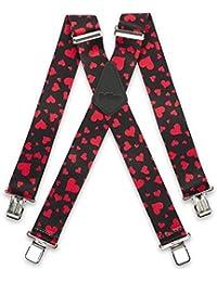 "Brimarc Mens Heavy Duty Red Love Hearts Braces Trouser Belt Suspender 2"" 50mm Wide"