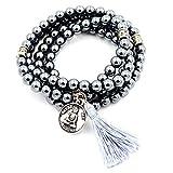 perline mala braccialetto, rosario buddista, tassel braccialetto, buddha mi benedica collana (ematite) …