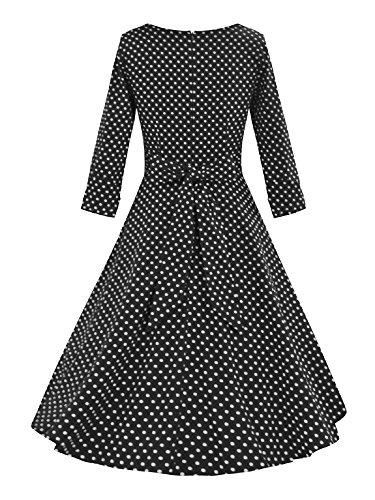 LUOUSE Femme Manteau Robe Rétro Vintage Années 50 's Style Audrey Hepburn Classique Coton Plusieurs couleurs V077-Noir