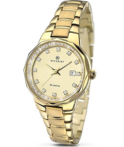 Accurist Stone Set Dial Gold Plated Stainless Steel Bracelet Ladies Watch 8015