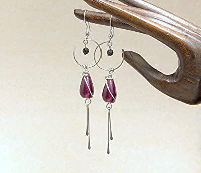 Boucles d'oreille prunes longues, perles en verre et acier inoxydable (A18)