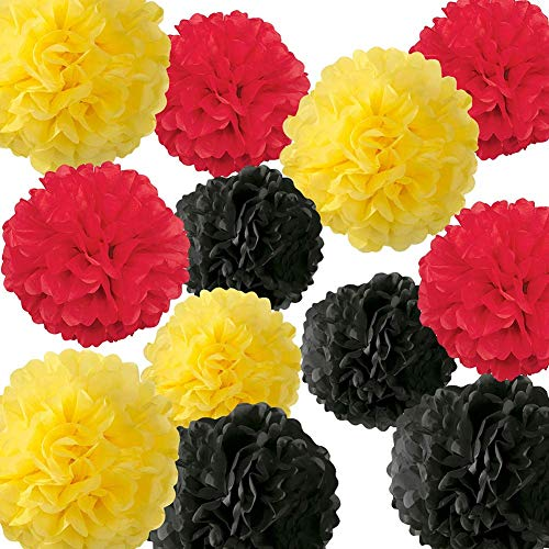 12 STÜCKE Gelb Schwarz Rot Seidenpapier Pom Poms Blumenkugeln Mickey Mouse Party Supplies Mickey Mouse Thema Geburtstag Party Dekorationen Marienkäfer Party Supplies