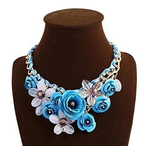 truecharms Women's Rose Necklaces Pendants Transparent Big Resin Crystal Flower Choker Statement Necklace (Light