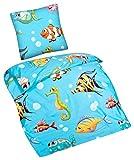 Aminata Kids – bunte Bettwäsche 135x200 cm Kinder Jungen Mädchen Fische Baumwolle Reißverschluss Meerestiere Fisch Unterwasserwelt Tiere Kinderbettwäsche 2-teiliges Bettwäscheset Aquarium