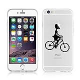 Cover iPhone 6 Plus, JAMMYLIZARD Custodia in Silicone Trasparente con Sketch per iPhone 6 Plus e 6s Plus, RAGAZZA IN BICI