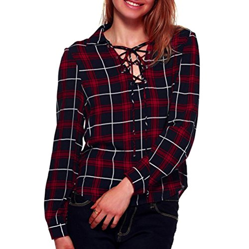 FEITONG Las mujeres blusa de encaje Manga larga del vendaje Camisa de tela escocesa tapas ocasionales (M, rojo)