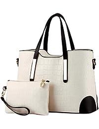 Sentao Mujeres Vintage de PU Cuero Bolsos de Mano Femenino Crossbody Bolsas de Hombro + Bolsa de Embrague