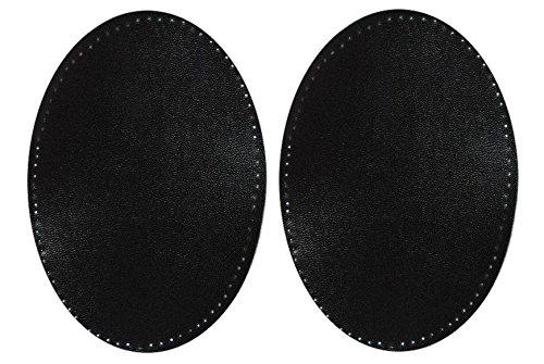 alles-meine.de GmbH 2 TLG. Set: ovaler Flicken - schwarz Kunstleder - 9,6 cm * 14,4 cm - zum...