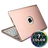 Cooper Cases Apple iPad Air 2/Pro 9.7 étui clavier, COOPER NOTEKEE F8S Clavier rechargeable sans fil Bluetooth LED rétroéclairage Étui clapet Macbook 7 couleurs rétro-éclairage - (Or rose)