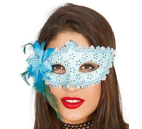 Guirca Venezianische Maske in Hellblau mit Silber und Glitzernd Halbmaske Fasching Party