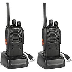 Baofeng BF-88E PMR Walkie-Talkie, PMR 446 Walkie Talkie recargables USB (un par, Negro)