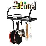 #7: INDIAN Sterline 2 Tier Well Mounted Metal Grid Kitchen 8 Hanging Pots& Pan Hooks, Spice Rack Storage Shelf