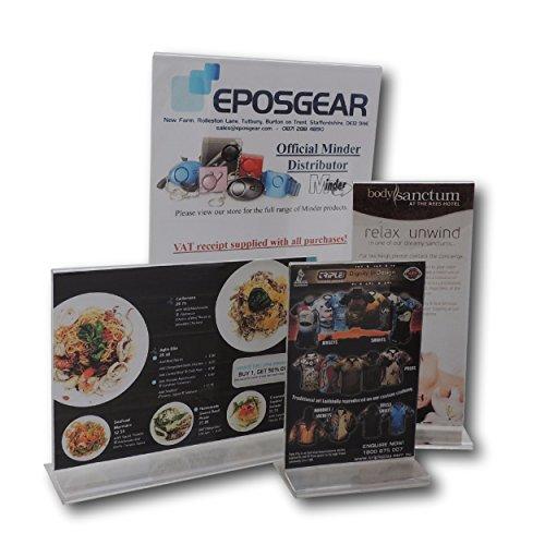 1 x EPOSGEAR DL / A4 Gefaltet Dreimal Hochformat Klar Plexiglas Acryl Doppelseitige Zweiseitiger Display-Ständer Plakataufsteller Werbeaufsteller