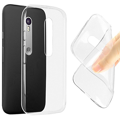 SDO Dotted Finish Ultra Thin Silicone Soft Jelly Case Back Cover for Moto G 3rd Generation (Moto G3) / Moto G Turbo Edition - Transparent + Nano Sim Adapter