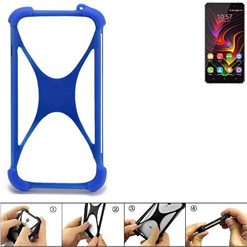 K-S-Trade Handyhülle für Oukitel C5 Pro Silikon Schutz Hülle Cover Case Bumper Silikoncase TPU Softcase Schutzhülle Smartphone Stoßschutz, blau (1x)