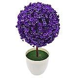 Kompassswc künstlich Topfpflanzen Zimmerpflanzen im topf Kunststoff Pflanzen Fake Mini Baum für Zimmer Büro Hochzeit (Lila)