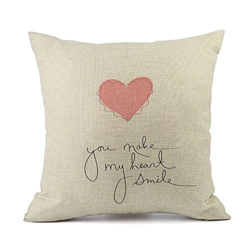2019 nuovo unico desgin di san valentino romantico federe di lino cuscino del divano home decor chiusura a cerniera nascosta 45cm×45cm/ 18 × 18 pollici by wudube