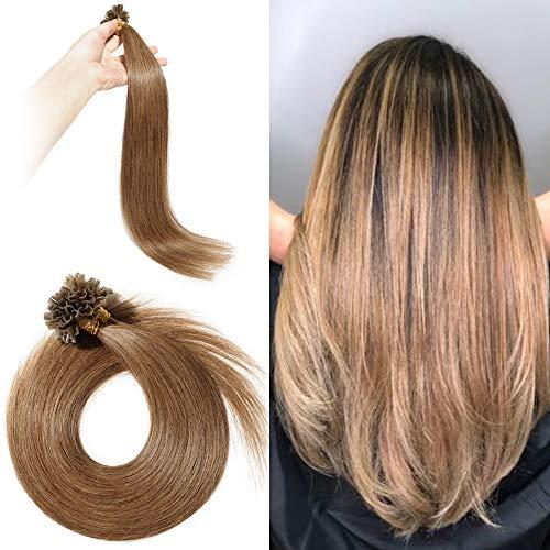 Extension capelli veri cheratina 100 ciocche u-tip lunghi naturali 40cm 50g/set #6 marrone chiaro