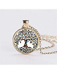 Elistelle Vintage Ladies' Necklace the Tree Glass Gem Pendant Long Chain Blessing Necklaces