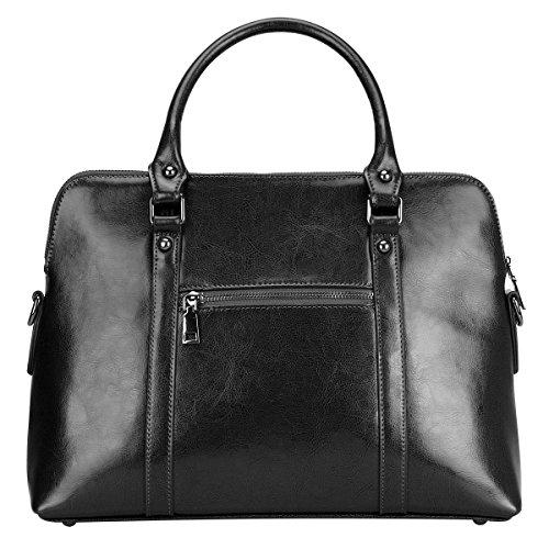 S-ZONE Borse di cuoio genuino delle borse della borsa della borsa della borsa della borsa Nero