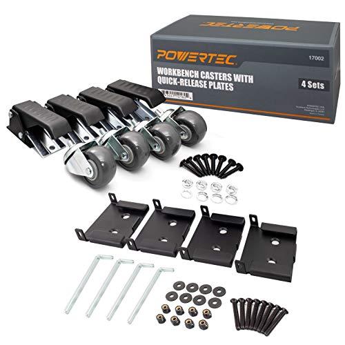 POWERTEC Werkbankrollen mit Schnellwechselplatten, schwarz, 4 Sets, 17002