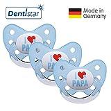 Dentistar Silikon Schnuller 3er Set - Beruhigungssauger, Nuckel, Nuggi, Größe 3, 14+ Monate - zahnfreundlich & kiefergerecht | Blau I Love Papa