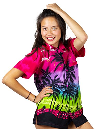 V.H.O. Funky Hawaiihemd Hawaiibluse, Beach, pink, XS