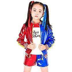 """(Corta S) Harley Quinn Disfraz Para Niños Carnaval Halloween Cosplay Suicide Squad Película Idea Regalo Niñas"""","""
