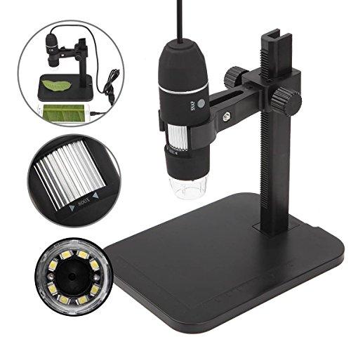 GVESS 1000X 8 LED 2MP del USB del Endoscopio del Microscopio digital Cš¢mara lupa con el Soporte de Elevaciš®n