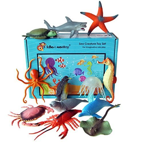 Lello and monkey creatura del mare giocattolo animale figure - set di 12 in scatola