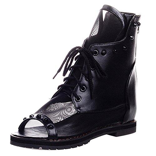 TAOFFEN Femmes Decontarcte Peep Toe Sandales Montant Plat Lacets Rivet Black