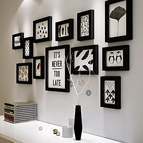 HJKY Photo Frame Wall Set Restaurant wall frame creative combination of solid wood 5/7/10 inch combination black and white living room wall album wall photo wall, all