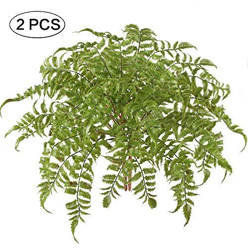 Jia Hu 2 pcs Artificielle Plantes Fougère de Boston Faux Bouquets de Feuilles de Plastique étanche Home Table de Cuisine Intérieur de Bureau