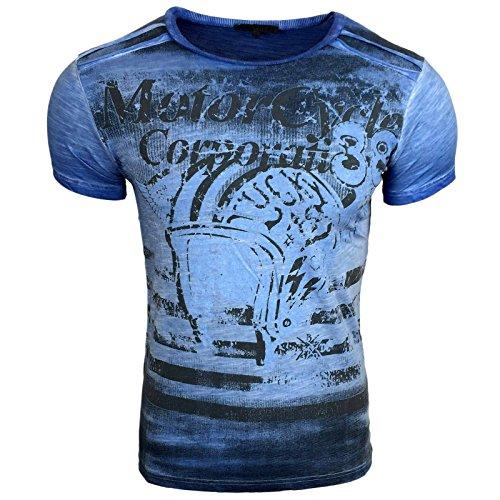 Avroni T-Shirt Herren Rundhals Shirt Anthrazit Blau Motiv A1-RN15015 Anthrazit