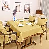 CCILOVE Mantel de lino estilo moderno minimalista encajes de paño de color sólido,amarillo,140*200cm.