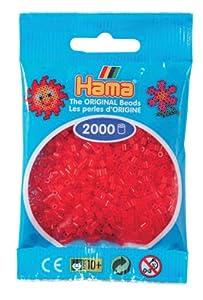 Desconocido Hama Perlen 501-13 - Mini Perlas Transparentes 2.000 Unidades / Rojo Importado de Alemania