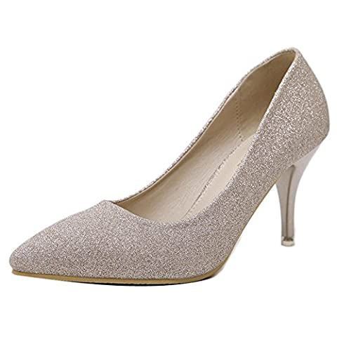 Ladola Womens Bridal Solid Lights High-Heels Pointed-Toe Gold Urethane Pumps Shoes - 2.5 UK