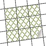 Fliesenfolie selbstklebend 15x15 cm 3x3 Design Retro Pattern - Grün (Muster & Ornamente) Klebefolie Küche Bad