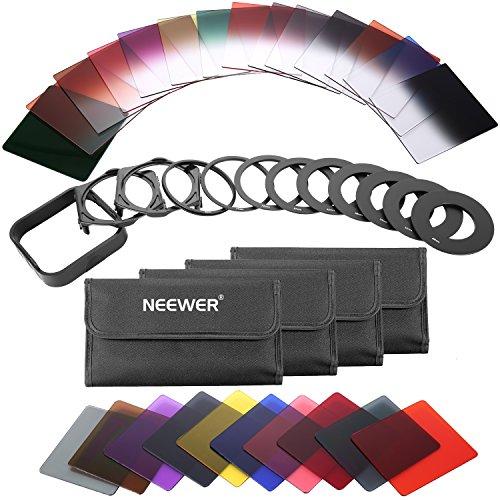 Neewer 40 in 1 quadratisch graduiertes Vollfarben ND Filter Set Kompatibel für DSLRKameras Adapterringfilterhalter und Objektivdeckel