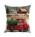 ❄ZEZKT-Home❄ Kissenbezug BaumVintage Weihnachten Santa Claus Sofa Bett Home Decor RentierWeihnachtsBaumKissen Fall (45cm*45cm A, G)