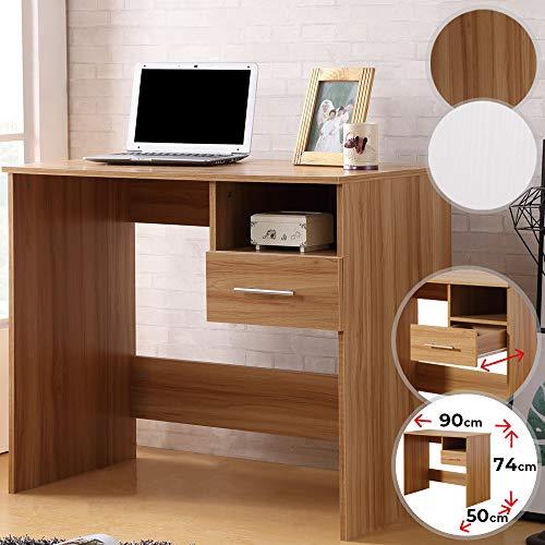 MIADOMODO Schreibtisch | mit Schublade und Ablage, 90/74/50 cm, aus MDF, Weiß und Buche | Bürotisch, PC-Tisch, Computertisch (Buche)