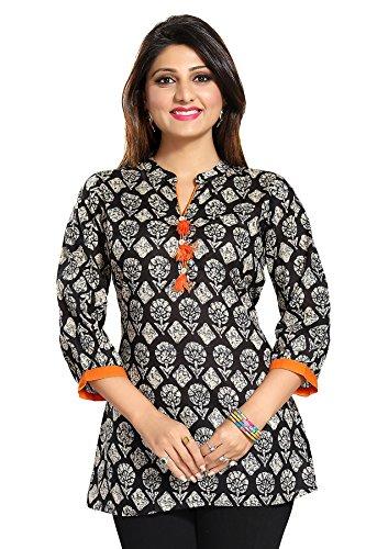 Color Petal Floral Design Black Colour Printed Short Cotton Kurti/Tunic/Top for women...