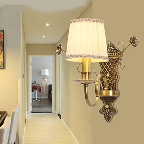 QFF American Style Rural Alle Bronze Wand Lampe Schlafzimmer Nachttisch Lampe Wandleuchten Korridor Retro Wohnzimmer Einzel-und Doppel-Kopf Gold Wand Lampe ( größe : #1 ) - Bronze Doppel-post