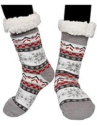 Slipper Socks,Emooqi Fuzzy Fleece Lined Home Socks Casual Knitting Non-Slip Socks Comfortable and Breathable Thermal Socks for Winter Daily Wear