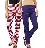 #5: Womens nightwear pyjama purple &striped pack of 2