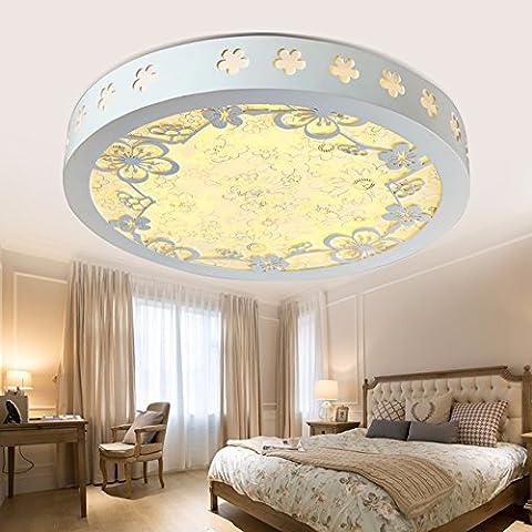 GQLB Un cadre idyllique en bois sculpté en bois chambre à coucher Lampe led 24W papillon ronde recherche créative cuisine et salle de bains lumière fleurs de cerisier blanc 450*450*100mm, pas d'occultation de polarité