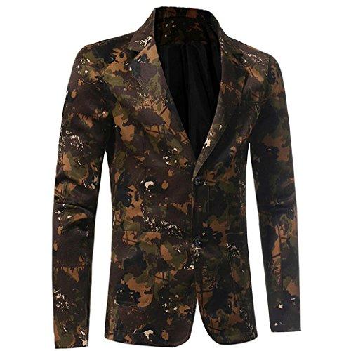 Herren Jacke Longra Herren Casual Slim Fit Anzug Hip Hop Urban Basic Camouflage Print Blazer Jacke Männer Softshelljacken Kurzmäntel Outwear (2XL, Camouflage)