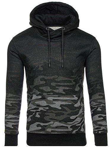 BOLF Felpa – Con cappuccio – Infilabile dalla testa – Motivo mimetico – Tasca canguro – Sportiva – Da uomo 1A1 Grafite