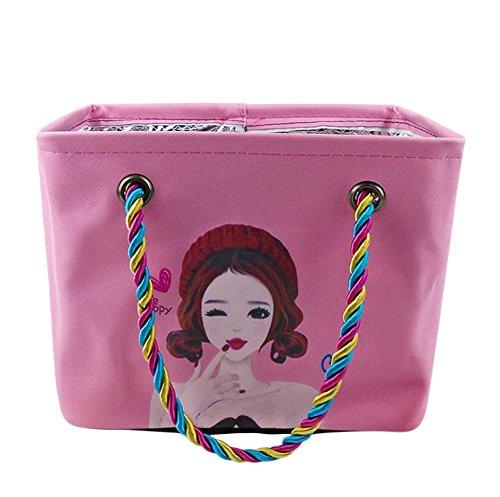 aikesi Waschen Tasche Cartoon Muster von Schönheit spritzwasserdicht PU Aufbewahrungstasche von Kosmetika von A-Test Schmutz Durable Multifunktion Shoping Aufbewahrungstasche Reise - 26*17*21cm Rosa
